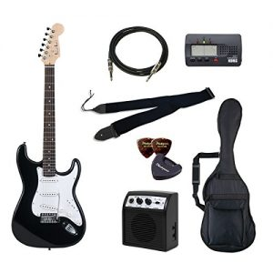 PhotoGenic electric guitar beginner introductory Value Set Stratocaster type ST-180 / BK black rosewood fingerboard