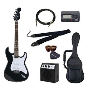 PhotoGenic electric guitar beginner introductory Value Set Stratocaster type ST-180 / HBK matching head black rosewood fingerboard