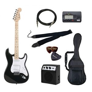 PhotoGenic Electric guitar beginner introductory Value Set Stratocaster type ST-180M / BK black maple fingerboard