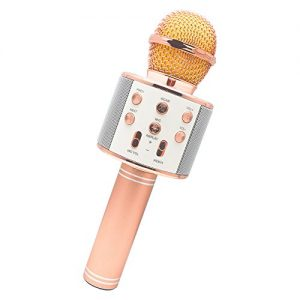 Topics on TV! Aoyama Thelma use type Bluetooth karaoke microphone speaker wireless portable microphone smartphone for Android iPhone (rose gold) with Japanese manual